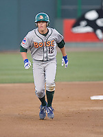 June 25, 2008: Josh Vitters of the Boise Hawks looks to advance to third base during a Northwest League game against the Everett AquaSox at Everett Memorial Stadium in Everett, Washington.