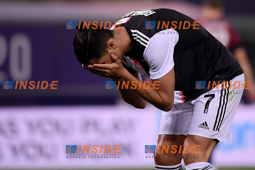 Cristiano Ronaldo of Juventus reacts during the Serie A football match between Bologna FC and Juventus at Dall'Ara stadium in Bologna ( Italy ), June 22th, 2020. Play resumes behind closed doors following the outbreak of the coronavirus disease. <br /> Photo Federico Tardito / Insidefoto