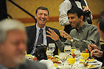 Governor Bobby Jindal of Louisiana participates in an Iowa flood victims breakfast fundraiser  at the Marriott Ballroom in Cedar Rapids, Iowa on November 22, 2008.