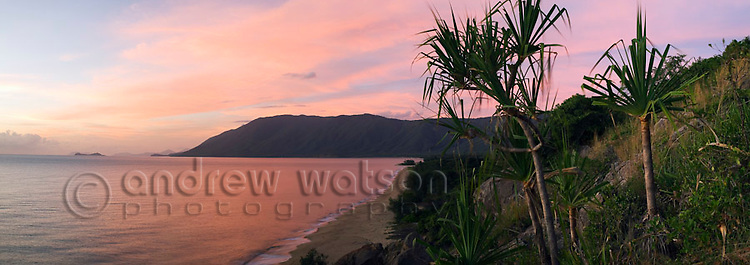 View of Wangetti Beach from Rex's Lookout at dawn.  Cairns, Queensland, AUSTRALIA