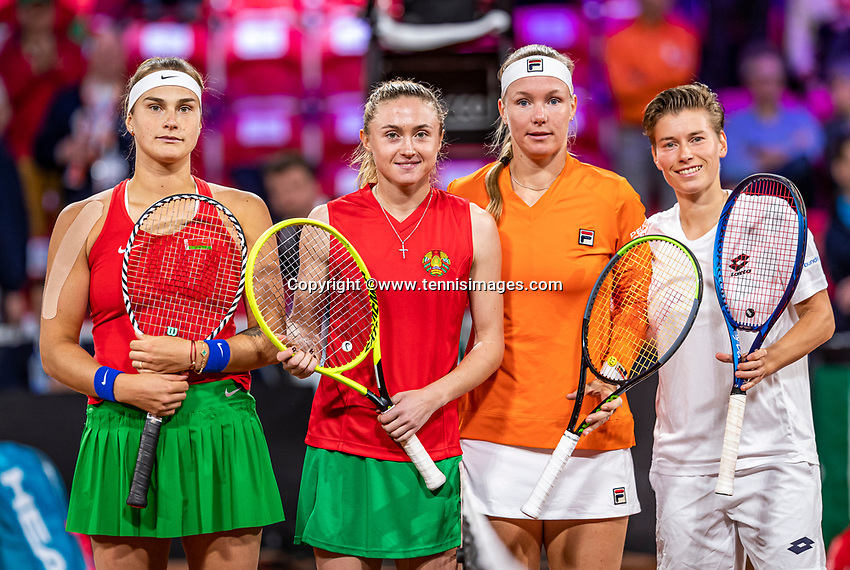 The Hague, The Netherlands, Februari 8, 2020,    Sportcampus, FedCup  Netherlands -  Balarus, Doubles: Bertens/Schuurs (NED) (R)  vs Sabalenka/Sasnovich (BLR)<br /> Photo: Tennisimages/Henk Koster