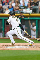 Nolan Fontana (4) of the Salt Lake Bees follows through on his swing against the Sacramento River Cats during the Pacific Coast League game at Smith's Ballpark on August 11, 2017 in Salt Lake City, Utah.The River Cats defeated the Bees 8-7. (Stephen Smith/Four Seam Images)