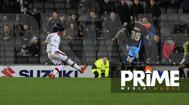 Nicky Maynard of MK Dons makes it 2-0 during the Sky Bet Championship match between MK Dons and Sheff Wednesday at stadium:mk, Milton Keynes, England on 15 December 2015. Photo by Liam Smith.