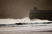 Friday 03 January 2014<br /> Pictured: Waves continue to batter Saundersfoot Hartbour Wall <br /> Re: Storm force winds and some of the highest tides in decades hit Wales early on Friday.