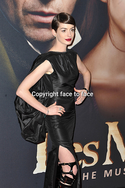 "Anne Hathaway (wore a Tom Ford Spring 2013 dress and bondage-style Tom Ford boots) at the premiere of ""Les Miserables"", New York, 10.12.2012...Credit: StarMaxInc/face to face..- Spain, Hungary, Bulgaria, Croatia, Russia, Romania and Moldavia, Slovakia, Slovenia, Bosnia & Herzegowina, Serbia, Ukraine and Belaurus, Lithuania, Latvia and Estonia, Australia, Taiwan, Singapore, China, Malaysia and Thailand rights only -"