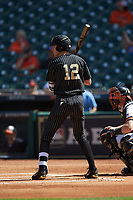 Connor Kaiser (12) of the Vanderbilt Commodores at bat against the Sam Houston State Bearkats in game one of the 2018 Shriners Hospitals for Children College Classic at Minute Maid Park on March 2, 2018 in Houston, Texas. The Bearkats walked-off the Commodores 7-6 in 10 innings.   (Brian Westerholt/Four Seam Images)