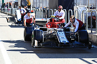 31st October 2019; Circuit of the Americas, Austin, Texas, United States of America; F1 United States Grand Prix, team arrival day; Alfa Romeo Racing mechanics push thier car to the garage for FIA Scrutiny - Editorial Use