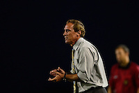 Sky Blue FC head coach Jim Gabarra. Sky Blue FC defeated the Washington Spirit 1-0 during a National Women's Soccer League (NWSL) match at Yurcak Field in Piscataway, NJ, on August 3, 2013.