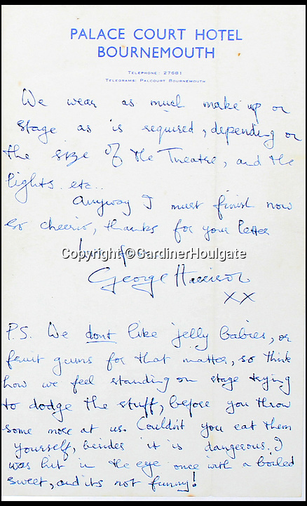 """BNPS.co.uk (01202 558833)<br /> Pic: GardinerHoulgate/BNPS<br /> <br /> A revealing letter from George Harrison disclosing the Beatles hatred of being bombarded with jelly babies on stage has emerged for sale for £20,000.<br /> <br /> The bizarre ritual started after a rumour spread among fans that the Fab Four loved being thrown sweets at gigs.<br /> <br /> But Harrison didn't see the funny side, spelling out his irritation in a letter he penned to 15 year old fan Lynn Smith in August 1963.<br /> <br /> Unprompted, he describes to her being hit in the eye with a boiled sweet, saying it was 'dangerous' and 'not funny'.<br /> <br /> The letter is going under the hammer at auction house Gardiner Houlgate, of Corsham, west Wilts, who expect it to spark an international bidding war.<br /> <br /> Harrison writes: """"We don't like jelly babies, or fruit gums for that matter, so think how we feel standing on stage trying to dodge the stuff, before you throw some more at us.<br /> <br /> """"Couldn't you eat them yourself, besides it is dangerous. I was hit in the eye once with a boiled sweet, and it's not funny!"""""""