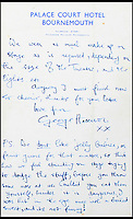 "BNPS.co.uk (01202 558833)<br /> Pic: GardinerHoulgate/BNPS<br /> <br /> A revealing letter from George Harrison disclosing the Beatles hatred of being bombarded with jelly babies on stage has emerged for sale for £20,000.<br /> <br /> The bizarre ritual started after a rumour spread among fans that the Fab Four loved being thrown sweets at gigs.<br /> <br /> But Harrison didn't see the funny side, spelling out his irritation in a letter he penned to 15 year old fan Lynn Smith in August 1963.<br /> <br /> Unprompted, he describes to her being hit in the eye with a boiled sweet, saying it was 'dangerous' and 'not funny'.<br /> <br /> The letter is going under the hammer at auction house Gardiner Houlgate, of Corsham, west Wilts, who expect it to spark an international bidding war.<br /> <br /> Harrison writes: ""We don't like jelly babies, or fruit gums for that matter, so think how we feel standing on stage trying to dodge the stuff, before you throw some more at us.<br /> <br /> ""Couldn't you eat them yourself, besides it is dangerous. I was hit in the eye once with a boiled sweet, and it's not funny!"""
