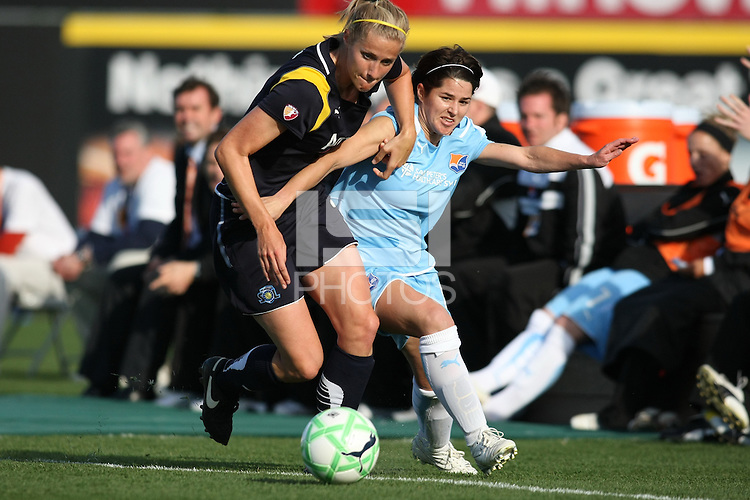 Sarah Walsh and Allison Falk battle for the ball. Los Angeles Sol defeated Sky Blue 2-0 in Bridgewater, NJ on Sunday, April 5, 2009. Photo by Robyn McNeil/isiphotos.com