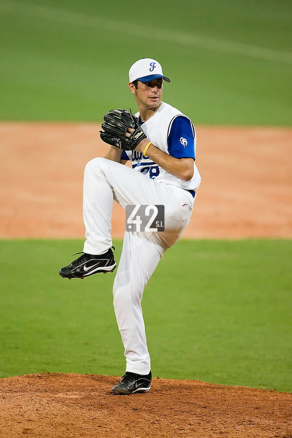 20 August 2007: Pitcher #28 Pierrick Lemestre pitches during the Czech Republic 6-1 victory over France in the Good Luck Beijing International baseball tournament (olympic test event) at the Wukesong Baseball Field in Beijing, China.