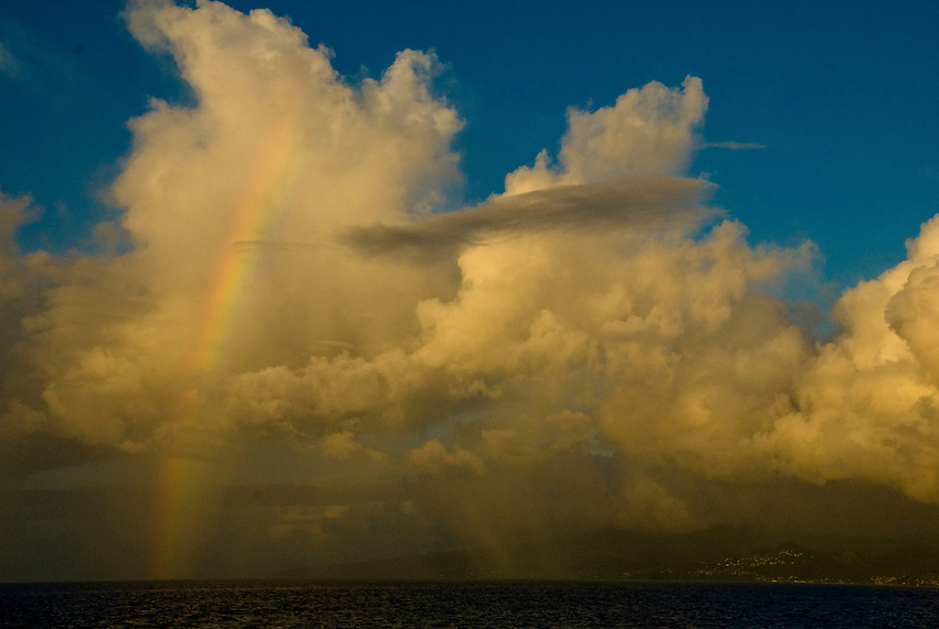 A rainbow off the coast of St. Lucia in the Caribbean Sea.