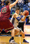 BROOKINGS, SD - FEBRUARY 8:  Cody Larson #34 from South Dakota State tries to make a move against Mitch Patton #42 from IUPUI in the first half of their game Saturday afternoon at Frost Arena in Brookings. (Photo by Dave Eggen/Inertia)