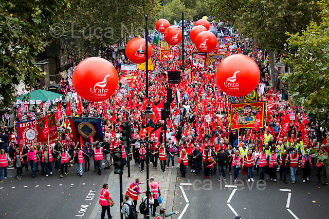 London, 18/10/2014. Today, more than 100,000 people gathered in central London to attend the TUC's march called &quot;Britain Needs A Pay Rise&quot;. The aim of the demonstration was to support the Trades Union Congress campaign to raise the minimum wage, give higher wages to employees, to finally commit to put in place the &quot;Living Wage&quot; and to fight the constantly rising inequality. The demonstration was supported by all the major British Trade Unions. It started on Victoria Embankment and ended with a rally in Hyde Park.<br /> <br /> For more information please click here: http://bit.ly/1kH8C9H