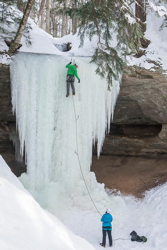 Ice climbing at Pictured Rocks National Lakeshore near Munising, Michigan.