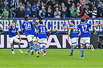 06.11.2018, Veltins-Arena, Gelsenkirchen, GER, CL, FC Schalke 04 vs Galatasaray Istanbul, DFL regulations prohibit any use of photographs as image sequences and/or quasi-video <br /> <br /> im Bild die Mannschaft von Schalke jubelt nach dem Tor zum 1:0 Torschuetze Guido Burgstaller (#19, FC Schalke 04) <br /> <br /> Foto &copy; nordphoto/Mauelshagen