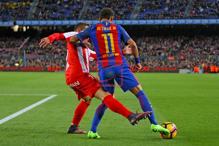 League Santander 2016/2017. Game: 25.<br /> FC Barcelona vs Real Sporting SAD: 6-1.<br /> Juan Rodriguez vs Neymar Jr.