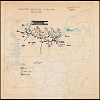 BNPS.co.uk (01202)558833<br /> Pic: Heritage/BNPS<br /> <br /> 2400 7th June <br /> <br /> The second map shows that the allies had barely moved out, but had landed many more troops and equipment onto the beacheads.<br /> <br /> Fascinating maps issued to a leading Allied commander on D-Day to inform him of the location of British, US, and German forces during the Normandy landings have been unearthed after 73 years.<br /> <br /> US General Omar Bradley was given the maps at 2400 each night to get an up to date picture of the progress of Operation Overlord - the Allied invasion of France.<br /> <br /> On D-Day Bradley commanded 3 Corp directed against Utah and Omaha beaches. He subsequently planned Operation Cobra, the breakout from the Normandy beachhead. <br /> <br /> Bradley used the maps - which have emerged for auction - to help formulate a daily plan of action as the Allied forces sought to gain a foothold in northern France.<br /> <br /> The maps date from June 6, 1944 - the day of the Normandy landings - June 7 and June 8 and reveal the state of affairs at midnight each day.
