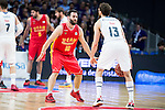 Real Madrid's player Sergio Rodriguez and UCAM Murcia's player Carlos Cabezas during the third match of the Liga Endesa Playoff at Barclaycard Center in Madrid. May 31. 2016. (ALTERPHOTOS/Borja B.Hojas)