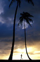 A lone runner at sunset with palm trees on the Big Island of Hawaii.
