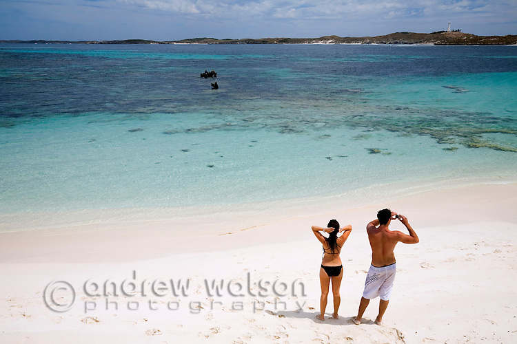 Holidaymakers at Salmon Bay on Rottnest Island, Western Australia, AUSTRALIA.