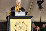 May 19, 2014. Winston Salem, North Carolina.<br />  Abramson, at right, was introduced by Bloomberg News reporter Al Hunt.<br />  Former New York Times Executive Editor Jill Abramson gave the commencement address and handed diplomas to graduating students at Wake Forest University.