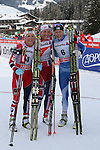 03/01/2014, Dobbiaco, Toblach - 2014 Cross Country Ski World Cup Tour de ski <br /> From left Therese Johaug, Astrid JACOBSEN, Anne Kylloenen in action during the women 15 km Free Pursuit  in Dobbiaco, Toblach, Italy on 03/01/2014.
