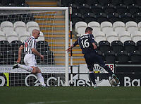 Jim Goodwin looks on as Ivan Sproule shoots to score in the St Mirren v Ross County Clydesdale Bank Scottish Premier League match played at St Mirren Park, Paisley on 19.1.13.