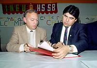 FILE PHOTO -  <br /> <br /> John Ciaccia signe la grande entente avec la nation CREE, circa 199O<br /> <br /> <br /> Photo  :  Denis Alix - Agence Quebec Presse