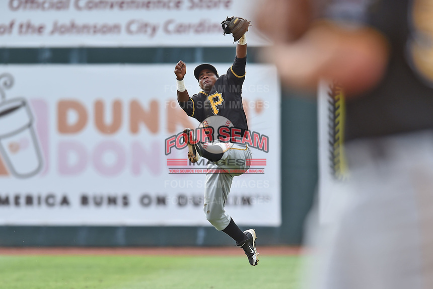 Bristol Pirates shortstop Pablo Reyes #15 during a game against the Johnson City Cardinals at Howard Johnson Field July 20, 2014 in Johnson City, Tennessee. The Pirates defeated the Cardinals 4-3. (Tony Farlow/Four Seam Images)