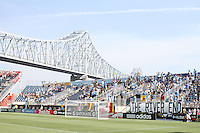Fans of the Philadelphia Union with Commodore Barry bridge in the background during an MLS match against Toronto FC at PPL stadium in Chester, Pa. on July 17 2010. Union won 2-1 on a last minute penalty kick goal.