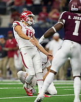 Hawgs Illustrated/Ben Goff<br /> Connor Limpert makes an extra point for Arkansas with Jack Lindsey holding in the 2nd quarter vs Texas A&M Saturday, Sept. 29, 2018, during the Southwest Classic at AT&T Stadium in Arlington, Texas.