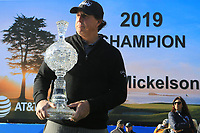 Phil Mickelson (USA) poses with the trophy after the final round of the AT&T Pro-Am, Pebble Beach Golf Links, Monterey, USA. 11/02/2019<br /> Picture: Golffile | Phil Inglis<br /> <br /> <br /> All photo usage must carry mandatory copyright credit (© Golffile | Phil Inglis)