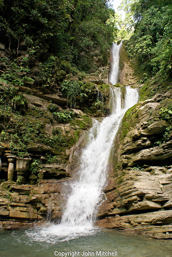 Waterfall called Cascada del General at Las Pozas, the surrealistic sculpture garden created by Edward James near Xilitla, Mexico