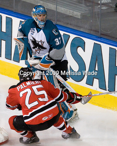 Nick Palmieri (Lowell - 25), Alex Stalock (Worcester - 32) - The Lowell Devils defeated the Worcester Sharks 7-3 on Wednesday, November 11, 2009, at the DCU Center in Worcester, Massachusetts.