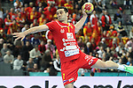 20.01.2013 Barcelona, Spain. IHF men's world championship, eighth.final. Picture show Kiril Manaskov in action during game between Germany  vs FYRO Macedonia at Palau st Jordi