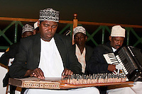 Zanzibar, Tanzania.  Taarab Orchestra Musicians.  Culture Musical Club.  Qanun and Accordion Players.