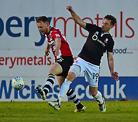 Lincoln City's Lee Frecklington vies for possession with Exeter City's Jake Taylor<br /> <br /> Photographer Andrew Vaughan/CameraSport<br /> <br /> The EFL Sky Bet League Two Play Off Second Leg - Exeter City v Lincoln City - Thursday 17th May 2018 - St James Park - Exeter<br /> <br /> World Copyright &copy; 2018 CameraSport. All rights reserved. 43 Linden Ave. Countesthorpe. Leicester. England. LE8 5PG - Tel: +44 (0) 116 277 4147 - admin@camerasport.com - www.camerasport.com