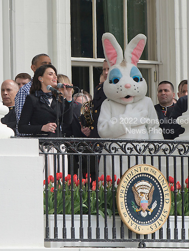 Idina Menzel sings the National Anthem as United States President Barack Obama and first lady Michelle Obama host the 2016 White House Easter Egg Roll on the South Lawn of the White House in Washington, DC on Monday, March 28, 2016.<br /> Credit: Ron Sachs / CNP