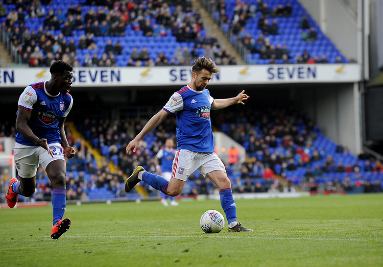 Ipswich Town's Gwion Edwards<br /> <br /> Photographer Hannah Fountain/CameraSport<br /> <br /> The EFL Sky Bet Championship - Ipswich Town v Birmingham City - Saturday 13th April 2019 - Portman Road - Ipswich<br /> <br /> World Copyright © 2019 CameraSport. All rights reserved. 43 Linden Ave. Countesthorpe. Leicester. England. LE8 5PG - Tel: +44 (0) 116 277 4147 - admin@camerasport.com - www.camerasport.com