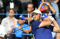 Jon Rahm Team Europe tees off the 17th tee during Friday's Fourball Matches at the 2018 Ryder Cup, Le Golf National, Iles-de-France, France. 28/09/2018.<br /> Picture Eoin Clarke / Golffile.ie<br /> <br /> All photo usage must carry mandatory copyright credit (© Golffile | Eoin Clarke)