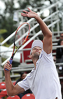 BOGOTA – COLOMBIA – 19-07-2014: Ivo Karlovic de Croacia, se prepara para servir a Radek Stepanek de Republica Checa, durante partido de las semifinales del Open Claro Colombia de tenis ATP 250, que se realiza en las canchas del Centro de Alto Rendimiento en Altura en ciudad de Bogota. / Ivo Karlovic of Croatia, prepared to serve to Radek Stepanek of Czech Republic, during a match for the semifinals of the Open Claro Colombia de tenis ATP 250, at Centro de Alto Rendimiento en Altura in Bogota City. Photo: VizzorImage / Luis Ramirez / Staff.