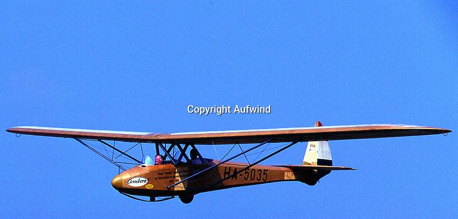 Segelflugzeug, Kumpan, Oldtimer. offener Doppelsitzer