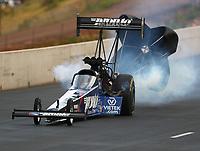 Jul 21, 2018; Morrison, CO, USA; NHRA top fuel driver Blake Alexander during qualifying for the Mile High Nationals at Bandimere Speedway. Mandatory Credit: Mark J. Rebilas-USA TODAY Sports