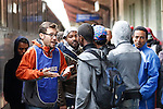 A volunteer try to help migrants and refuges mainly from Eritrea and Bangladesh blocked by the Italian police at the border with Austria at the Brennero (Brenner) pass. They have no more access to the trains to reach Germany or Austria without valid passeport or ID even if they have a ticket. Non profit organisation (Onlus) assist them in Brennero, Brenner, on September 15, 2015.