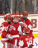Jakob Forsbacka Karlsson (BU - 23), Charlie McAvoy (BU - 7), Jordan Greenway (BU - 18), Clayton Keller (BU - 19) - The visiting Boston University Terriers defeated the Boston College Eagles 3-0 on Monday, January 16, 2017, at Kelley Rink in Conte Forum in Chestnut Hill, Massachusetts.