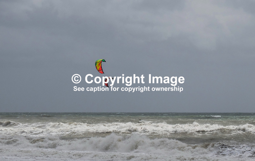 Not everyone is disappointed when the wind blows and the seas are rough at Estepona! A couple of windsurfers take advantange of the &ldquo;bad&rdquo; weather. April, 2017,201704203430<br /> <br /> Copyright Image from Victor Patterson, 54 Dorchester Park, <br /> Belfast, UK, BT9 6RJ<br /> <br /> t1: +44 28 9066 1296 (from Rep of Ireland 048 9066 1296)<br /> t2: +44 28 9002 2446 (from Rep of Ireland 048 9002 2446)<br /> m: +44 7802 353836<br /> <br /> e1: victorpatterson@me.com<br /> e2: victorpatterson@gmail.com<br /> <br /> www.victorpatterson.com<br /> <br /> Please see my Terms and Conditions of Use at www.victorpatterson.com. It is IMPORTANT that you familiarise yourself with them.<br /> <br /> Images used on the Internet must be visibly watermarked i.e. &copy; Victor Patterson within the body of the image and copyright metadata must not be deleted. Images used on the Internet have a size restriction of 4kbs and will be chargeable at current NUJ rates unless agreed otherwise.<br /> <br /> This image is only available for the use of the download recipient i.e. television station, newspaper, magazine, book publisher, etc, and must not be passed on to any third party. It is also downloaded on condition that each and every usage is notified within 7 days to victorpatterson@me.com<br /> <br /> The right of Victor Patterson to be identified as the author is asserted in accordance with The Copyright Designs And Patents Act (1988).