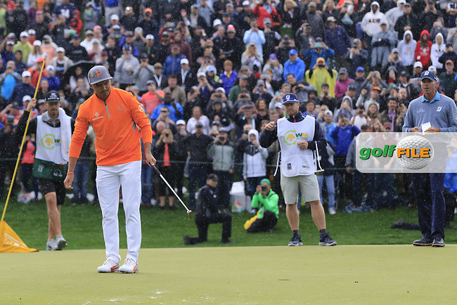Rickie Fowler (USA) lines up the putt for the win on 18th during the final round of the Waste Management Phoenix Open, TPC Scottsdale, Scottsdale, Arisona, USA. 03/02/2019.<br /> Picture Fran Caffrey / Golffile.ie<br /> <br /> All photo usage must carry mandatory copyright credit (© Golffile | Fran Caffrey)