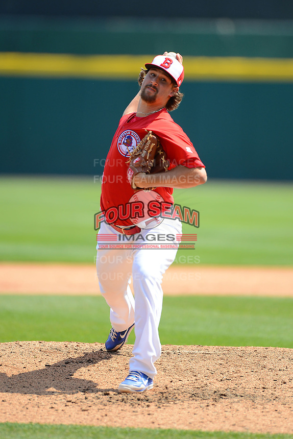 Buffalo Bisons pitcher John Stilson #41 during a game against the Charlotte Knights on May 19, 2013 at Coca-Cola Field in Buffalo, New York.  Buffalo defeated Charlotte 11-6.  (Mike Janes/Four Seam Images)